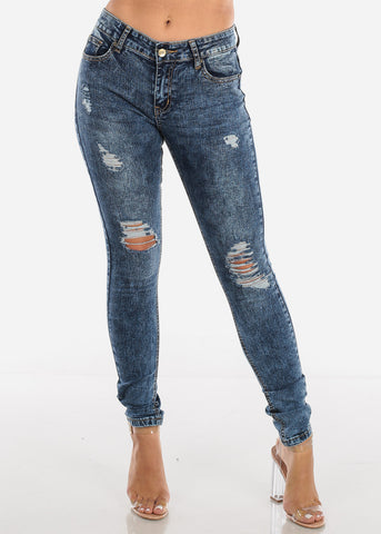 Image of Distressed Acid Wash Skinny Jeans