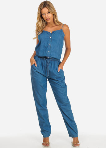 Cotton Denim Button Up Jumpsuit