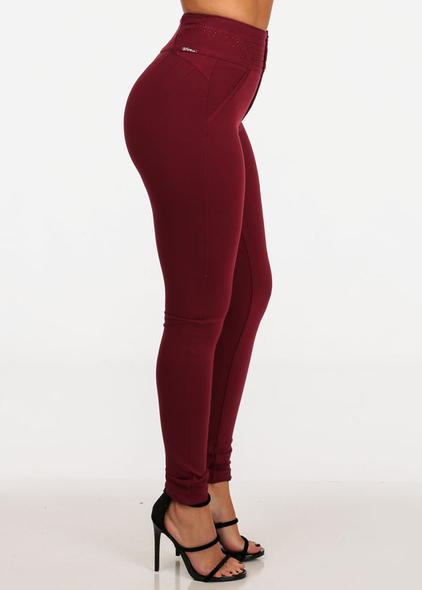 Butt Lifting Burgundy Skinny Pants