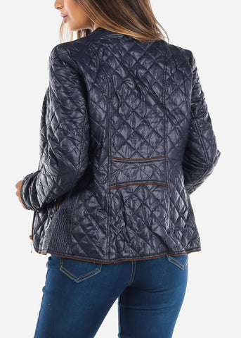 Quilted Navy Bomber Jacket