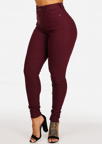 Classic High Waisted Skinny Jeans (Burgundy)