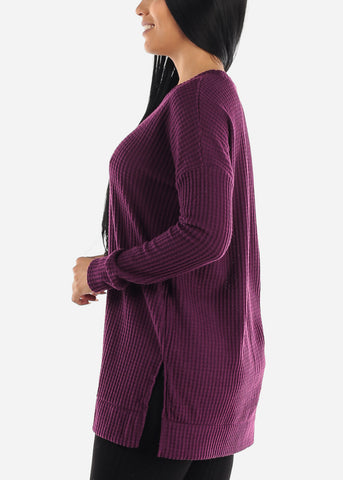 Brushed Thermal Waffle Purple Sweater