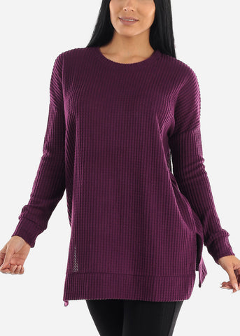 Image of Brushed Thermal Waffle Purple Sweater