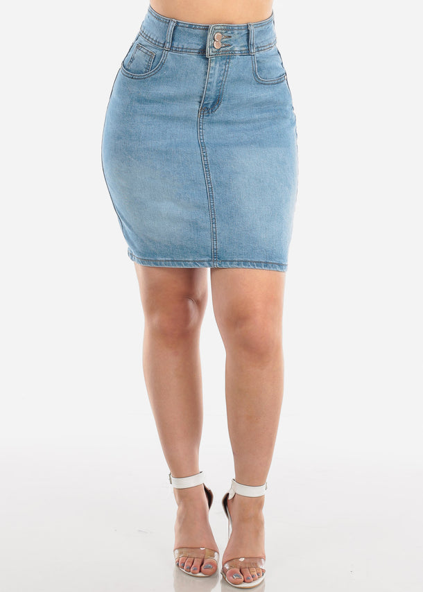 2 Button Push Up High Waisted Butt Lifting Levanta Cola Light Wash Denim Skirt For Women Ladies Junior