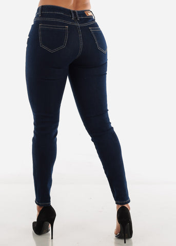 Image of Mid Rise Dark Blue Jeans