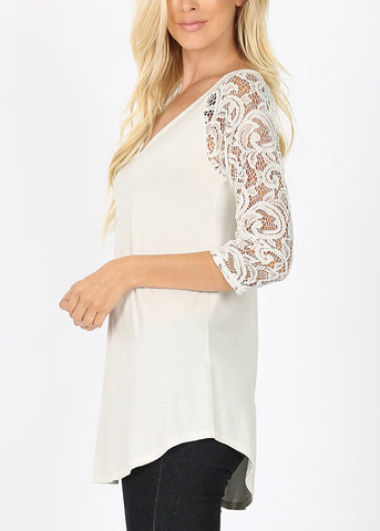 Image of Floral Lace Sleeve Ivory Blouse