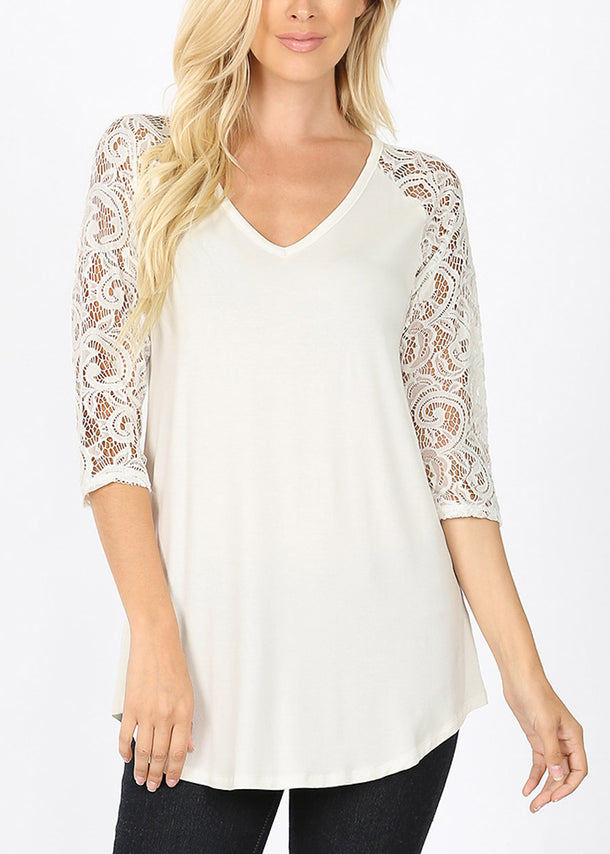 Floral Lace Sleeve Ivory Blouse