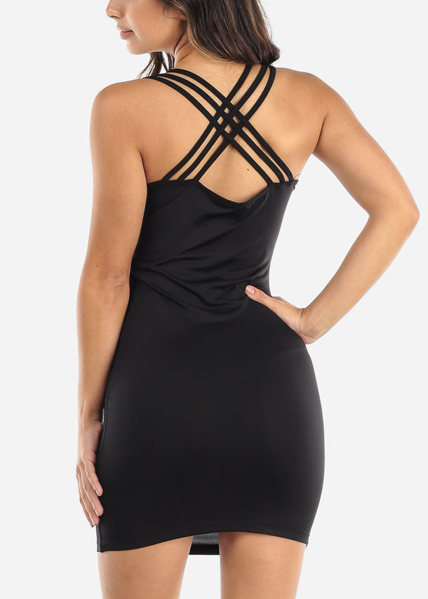 Black Criss Cross Back Dress