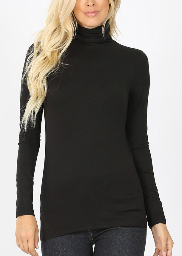 Mock Neck Black Top