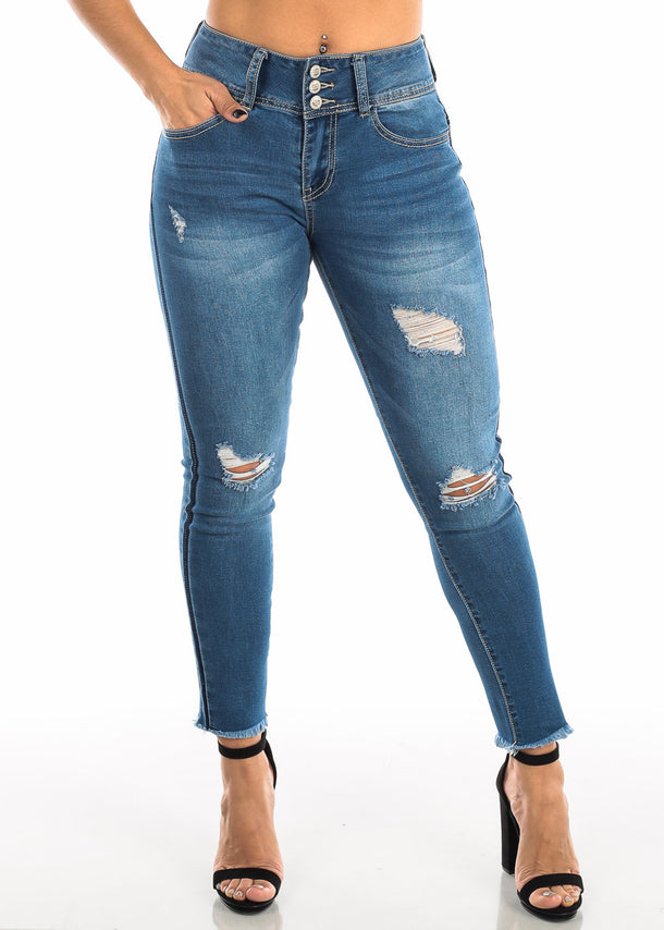 Ripped Med Wash Skinny Ankle Jeans
