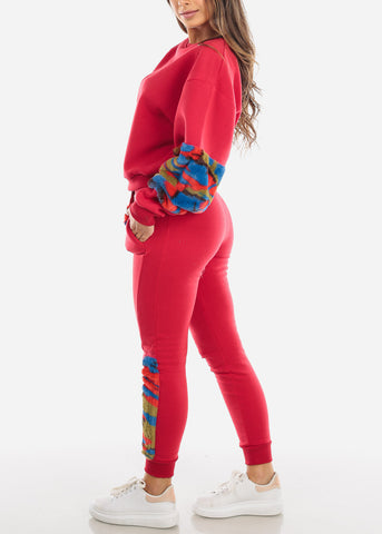 Fuzzy Red Sweater & Pants (2 PCE SET)