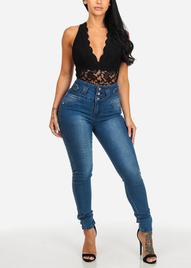 Affordable Med Wash High Waist Butt Lifting Skinny Jeans
