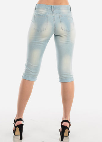 Image of Low Rise Light Wash Denim Capris
