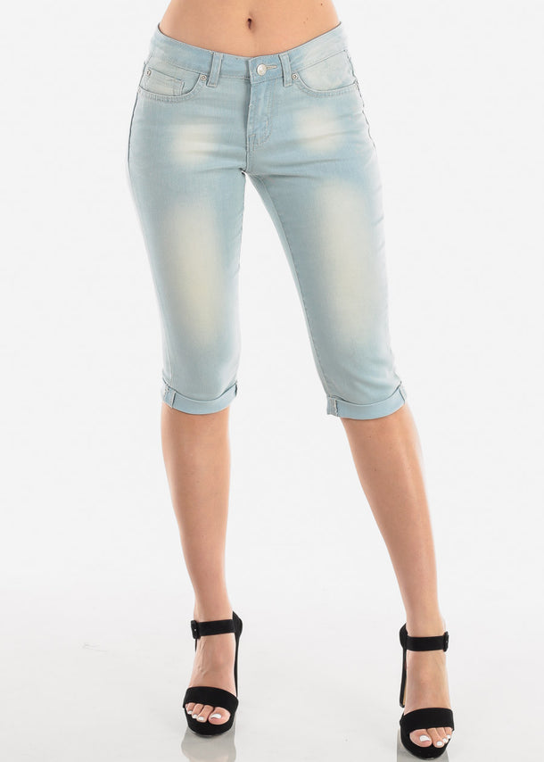Women's Junior Ladies Casual Cute Must Have Low Rise 1 Button Light Wash Denim Capris