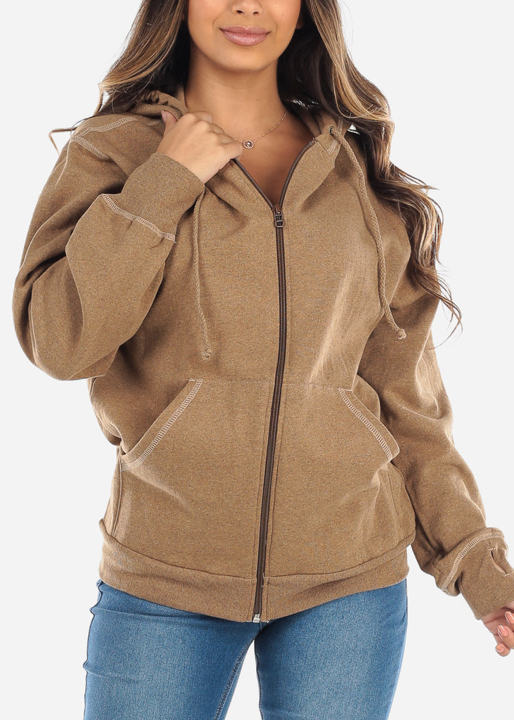 Zip Up Camel Sweater