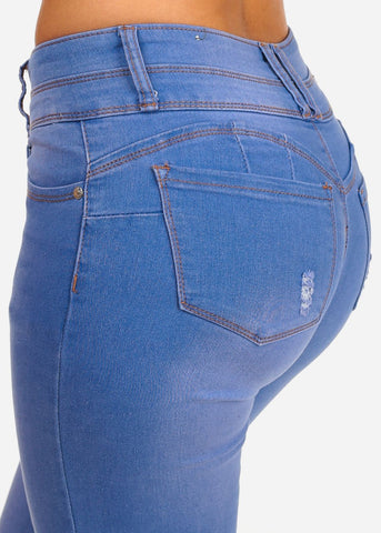 Image of Butt Lifting Levanta Cola Mid Rise 2 Button Light Blue Wash Denim Skinny Jeans With Back Pocket Rips