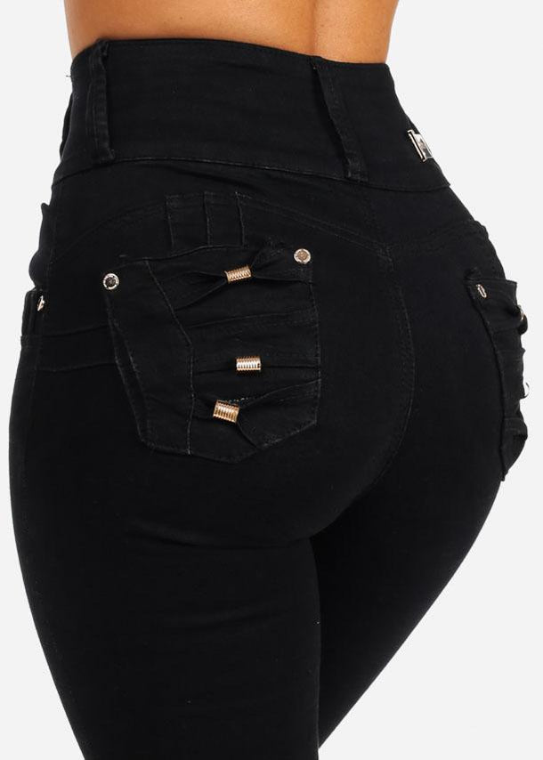 Black High Rise Butt Lifting Skinny Jeans