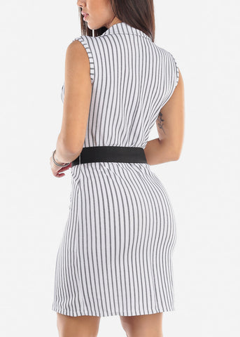 Image of Sleeveless White Striped Blazer Dress