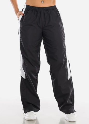 Black Drawstring Waist Athletic Pants LPO010BLK