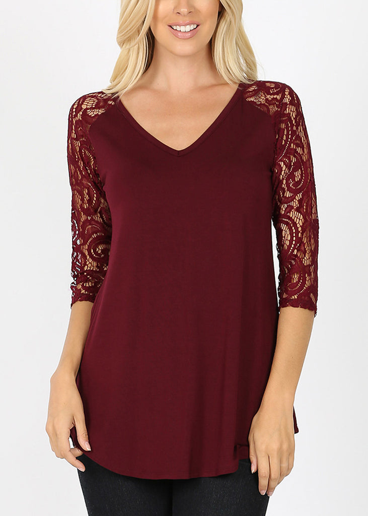 Floral Lace Sleeve Burgundy Blouse