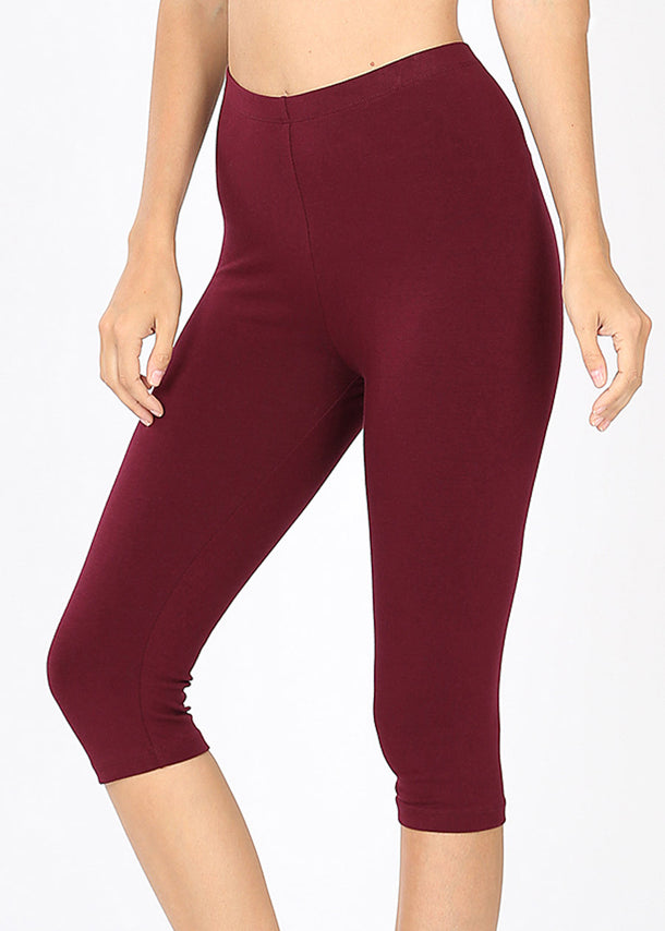High Waisted Burgundy Capri Leggings