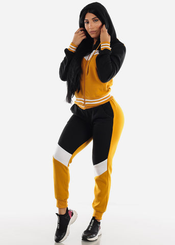 Mustard Colorblock Hoodie & Jogger Sweatpants (2 PCE SET)