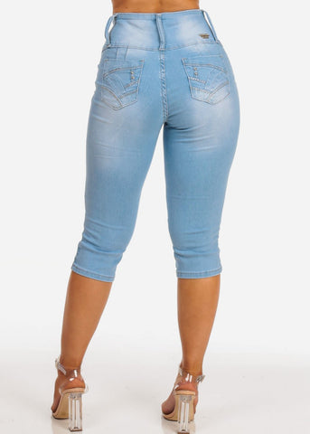 Women's Junior Ladies Cute Summer Vacation Distressed Light Wash Denim Capri