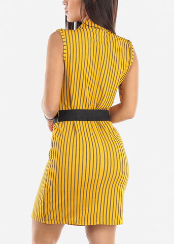 Sleeveless Mustard Striped Blazer Dress