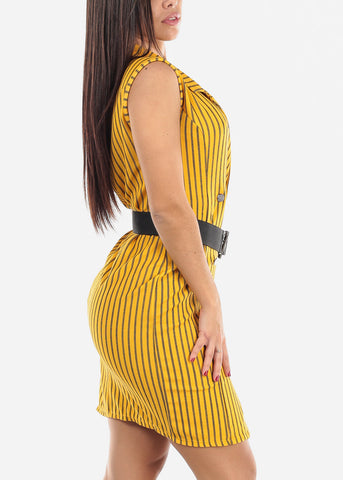 Image of Sleeveless Mustard Striped Blazer Dress
