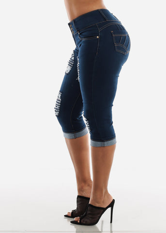 Image of Dark Wash Levanta Cola Denim Capris