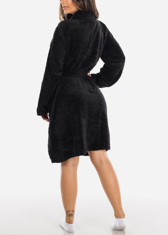 Image of Black Fleece Robe