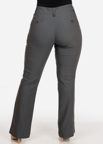 Women's Plus Size Office Business Career Wear High Waisted Grey Dress Pants