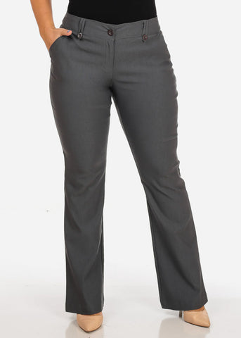 Image of Women's Plus Size Office Business Career Wear High Waisted Grey Dress Pants