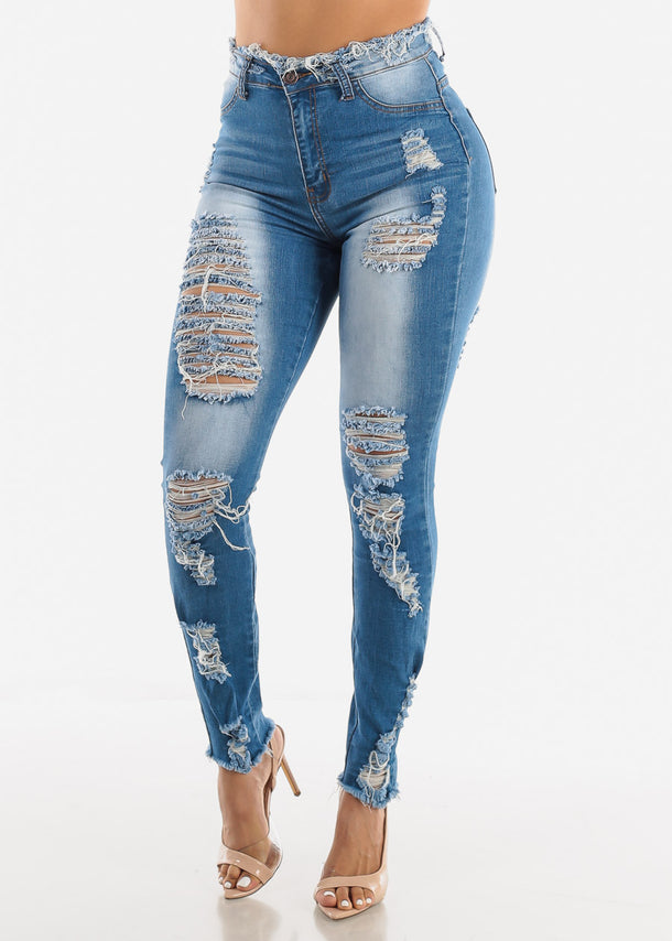 Med Blue Distressed Jeans