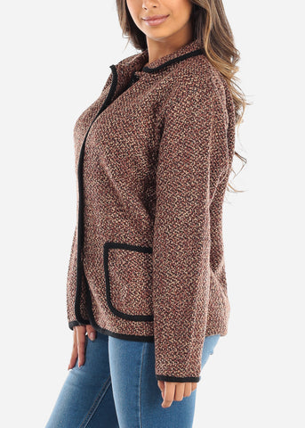 Image of Button Up Brown Knit Sweater