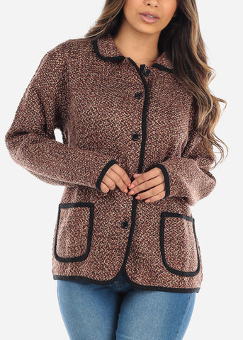 Button Up Brown Knit Sweater