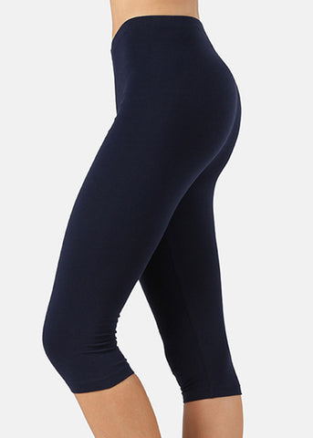 High Waisted Navy Capri Leggings