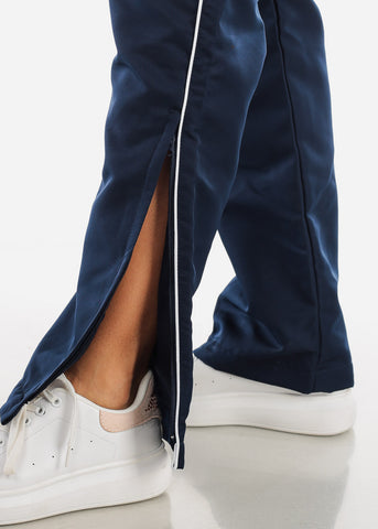 Image of White Stripe Navy Track Pants