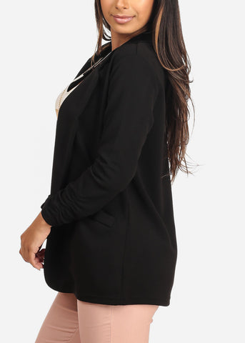 Women's Junior Ladies Dressy Business Office Career Wear Open Front Ruched Sleeves Solid Black Blazer