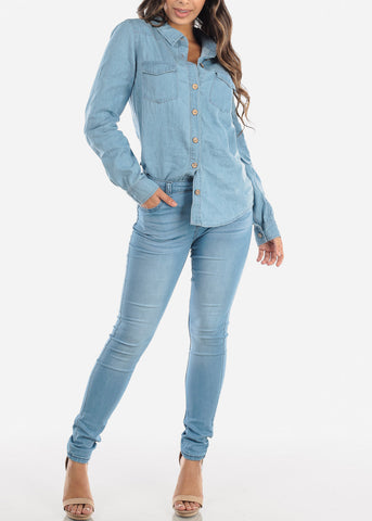 Mid Rise Light Wash Skinny Jeans