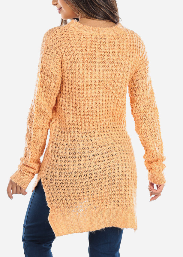 Salmon Crochet Knit Sweater