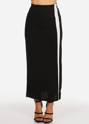 Women's Junior Ladies Stylish Long Stripe Detail Black Maxi Dressy Skirt