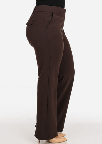 Image of Women's Plus Size High Waisted Office Wear Bootcut Brown Dressy Pants
