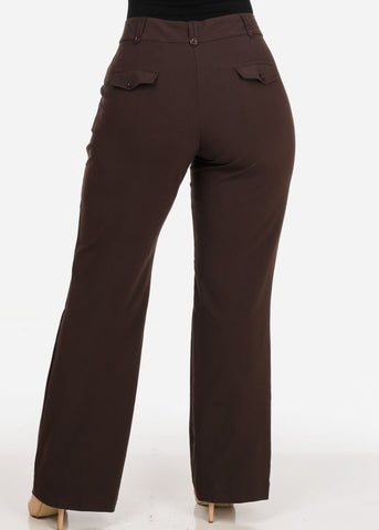 Women's Plus Size High Waisted Office Wear Bootcut Brown Dressy Pants