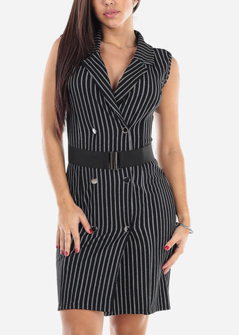 Sleeveless Black Striped Blazer Dress