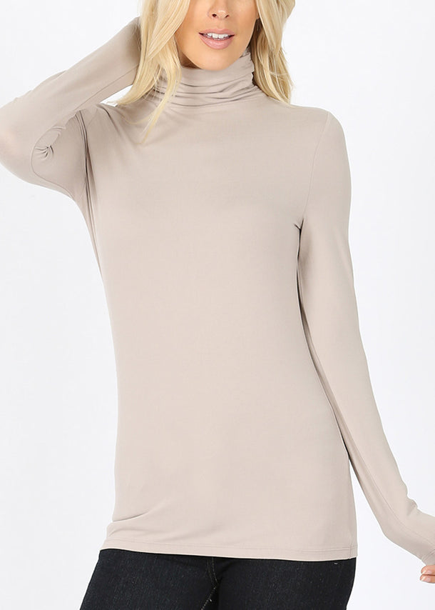 Mock Neck Light Brown Top