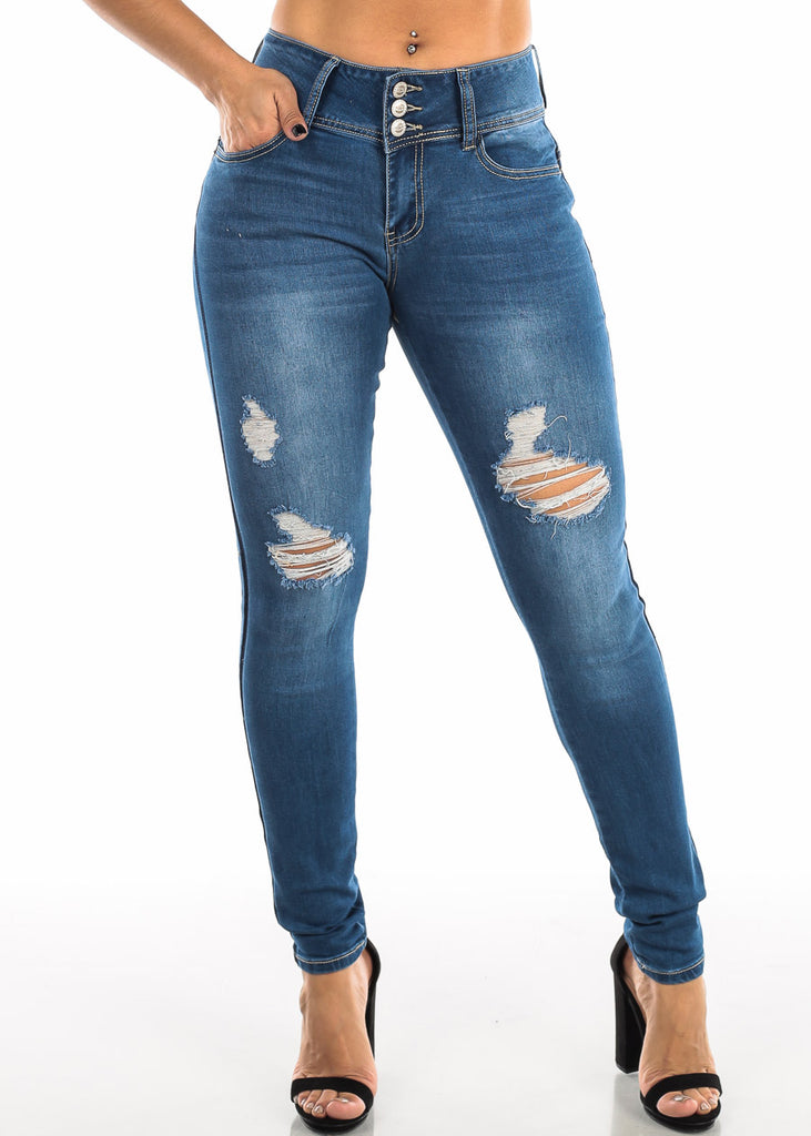 Butt Lifting Med Wash Torn Wash Skinny Jeans