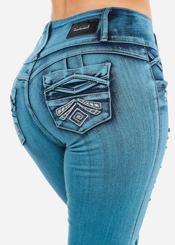 Butt Lifting Teal Wash Denim Capris