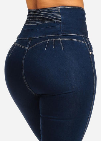 Image of Ultra High Waisted Butt Lifting Dark Jeans