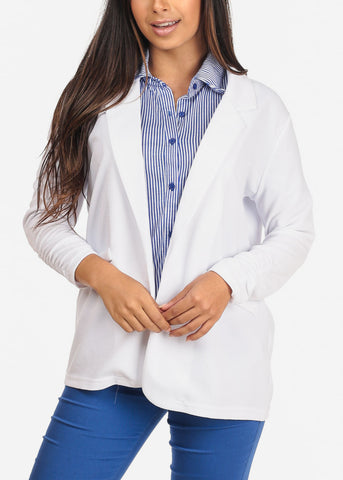 Image of Women's Junior Ladies Dressy Business Office Career Wear Open Front Ruched Sleeves Solid White Blazer